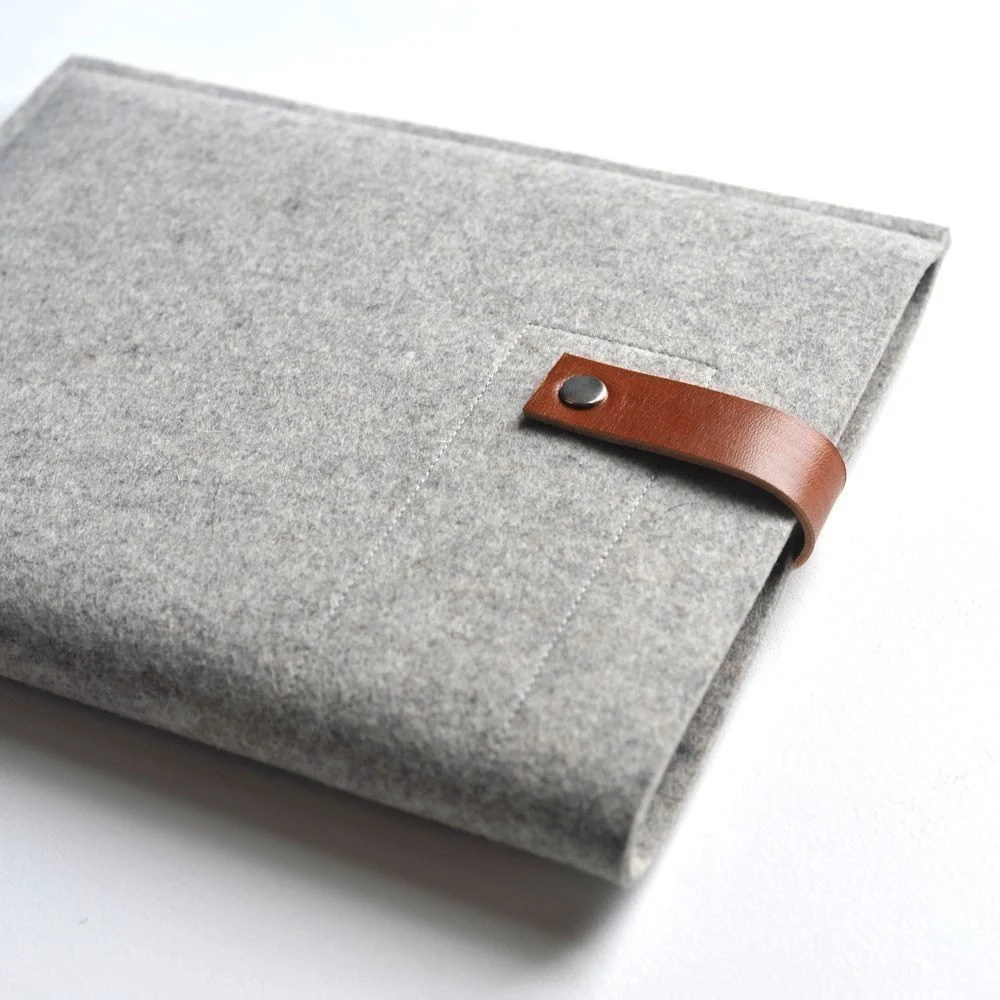 Ipad Sleeve - Grey Wool Felt with Brown Leather