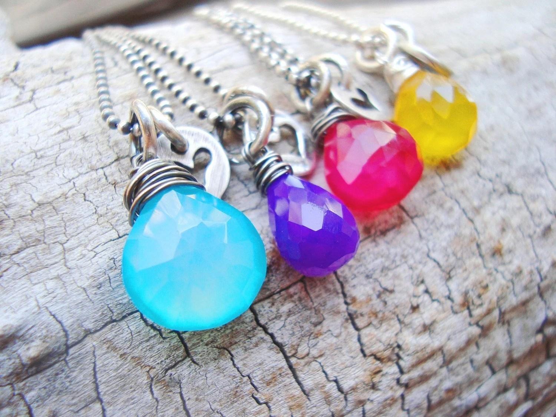 gem drop ...chalcedony gemstone briolette heart charm necklace