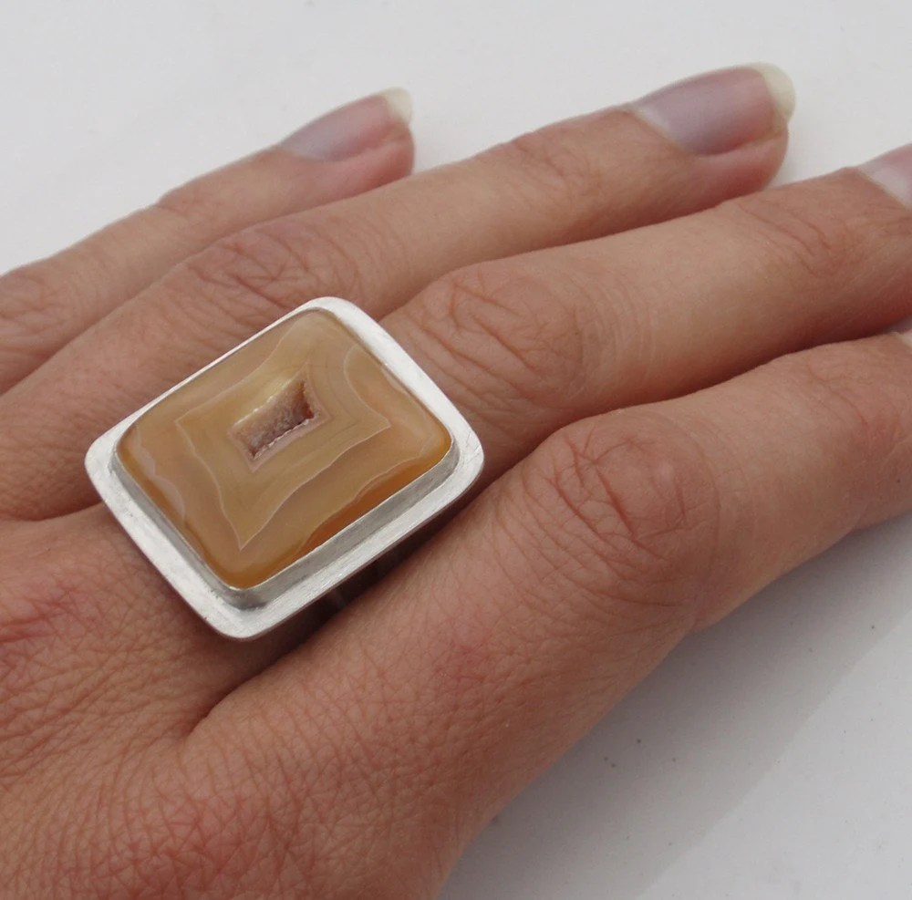 Caramel Agate Square Ring