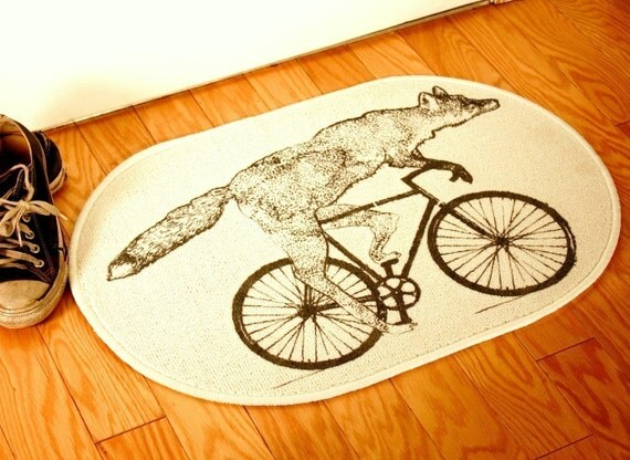 Fox on a Bike Natural Creme White Rug - Bath Mat or Door Mat