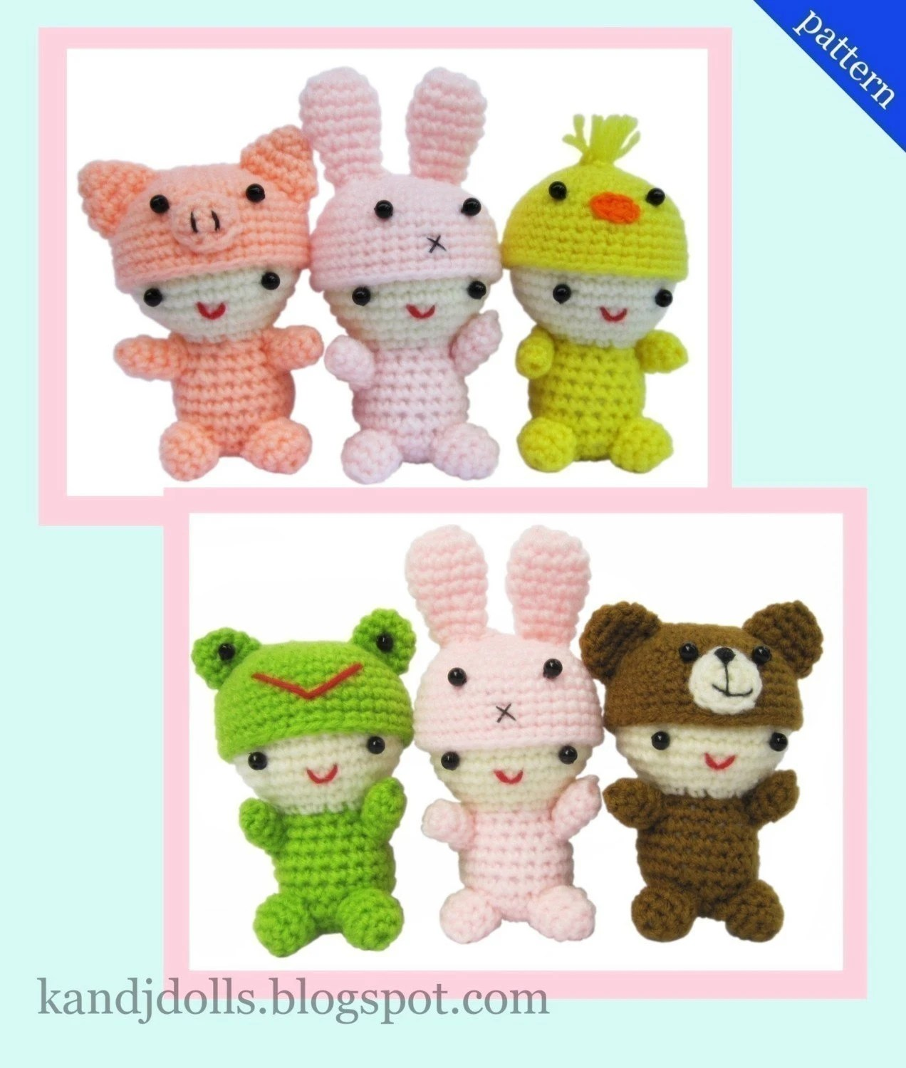 Little Babies with cute Animal caps - PDF Crochet Pattern