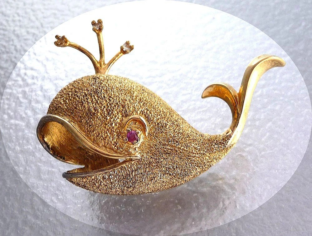 Les Bernard Sterling Silver Whale w Gold Vermeil and Ruby