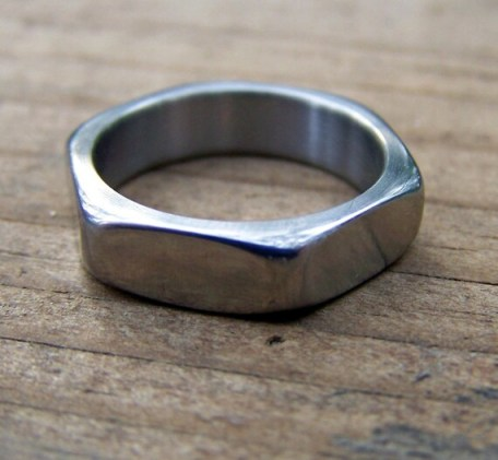 Hardware Ring (Hexagonal Titanium Band)