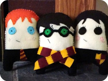 Harry Potter, Ron Weasley, or Hermione Granger plush monsters