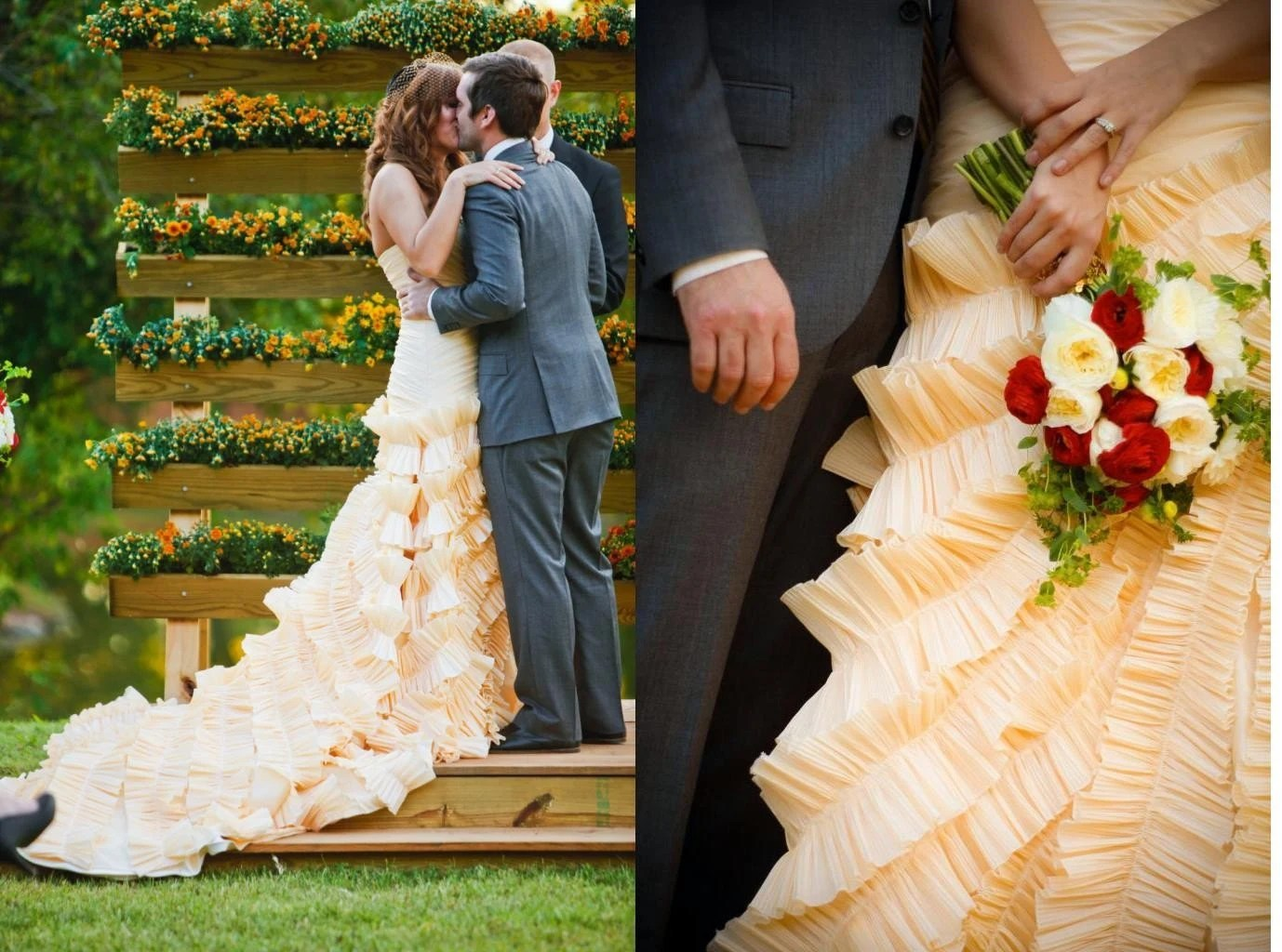 Champagne Sweetheart Taffeta Ball Gown Wedding Dress