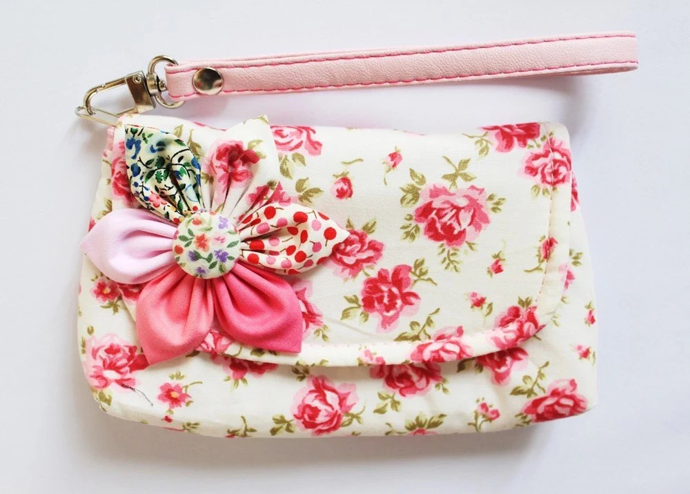 Happy New Year Sale Pink Cotton Wristlet