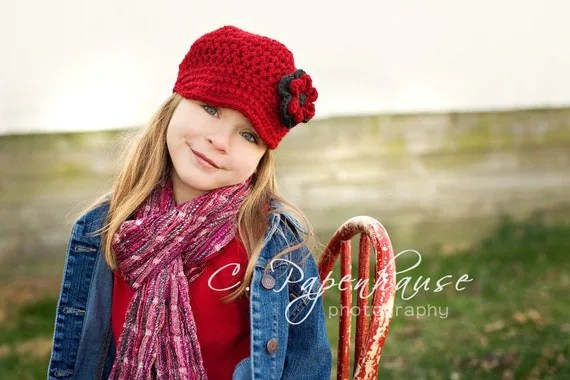 Cranberry Newsboy Cap with Chloe Flower Clip (5 - Adult)