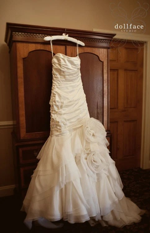 Satin and Organza Fit and Flare Wedding Gown with Flower Skirt