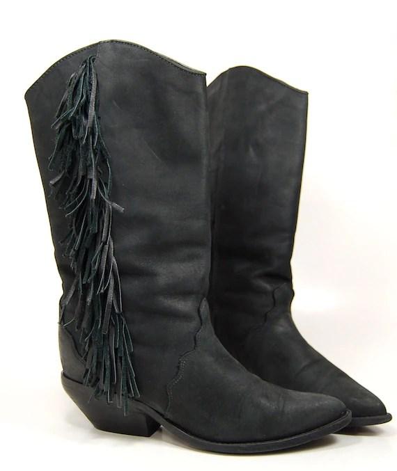 Vintage Zodiac FRINGE Black Suede Cowboys Boots Size 7.5
