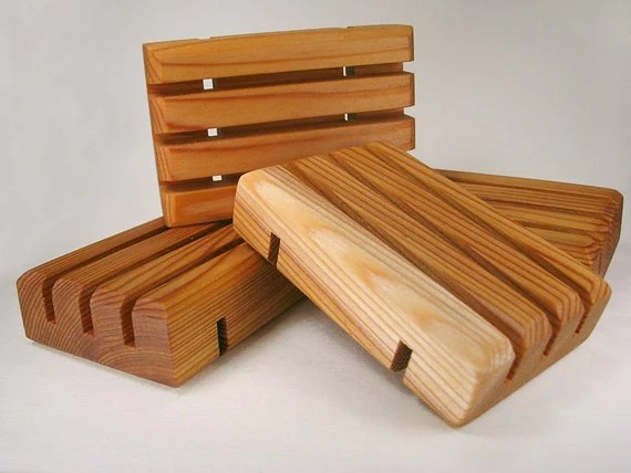 Five Handcrafted Cedar Soap Dishes