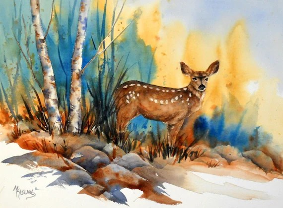 Watercolor of Deer in Woods -  Original Martha Kisling Painting
