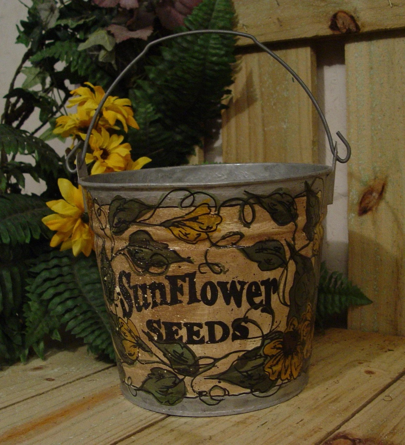 Garden Bucket  Hand Painted Sunflower Seeds