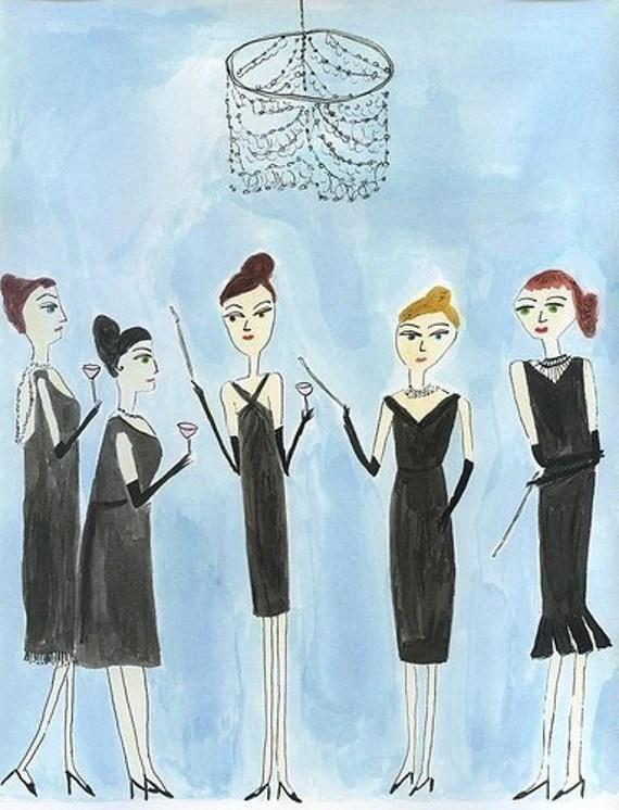 None of the girls would dream of missing Evangeline Boatwright's annual Holly Golightly party.  Limited edition print of an original painting