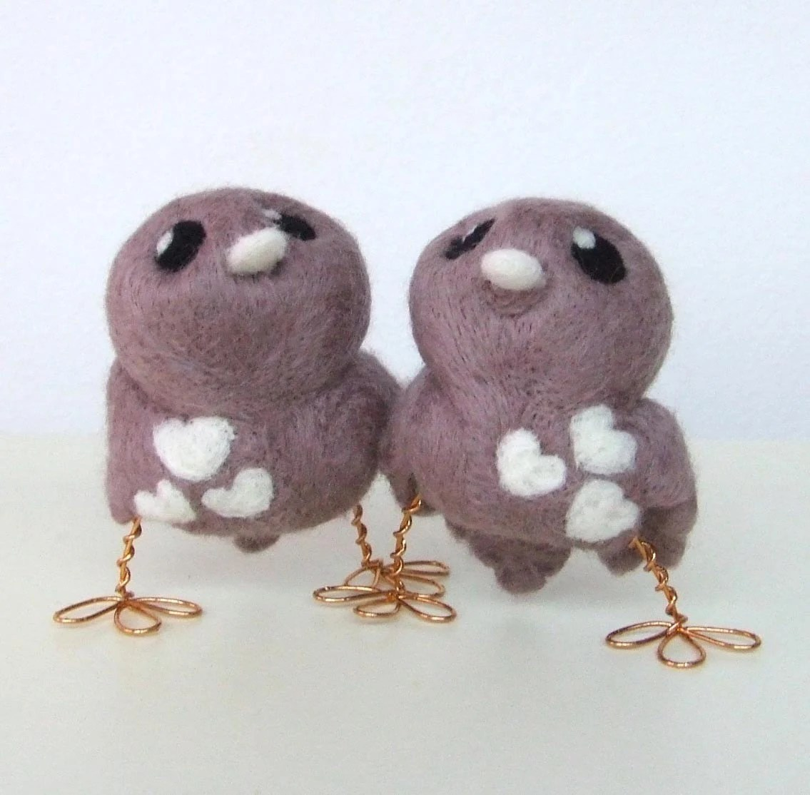 Cocoa and Cream Natural White and Mink Love Birds Wedding Cake Topper