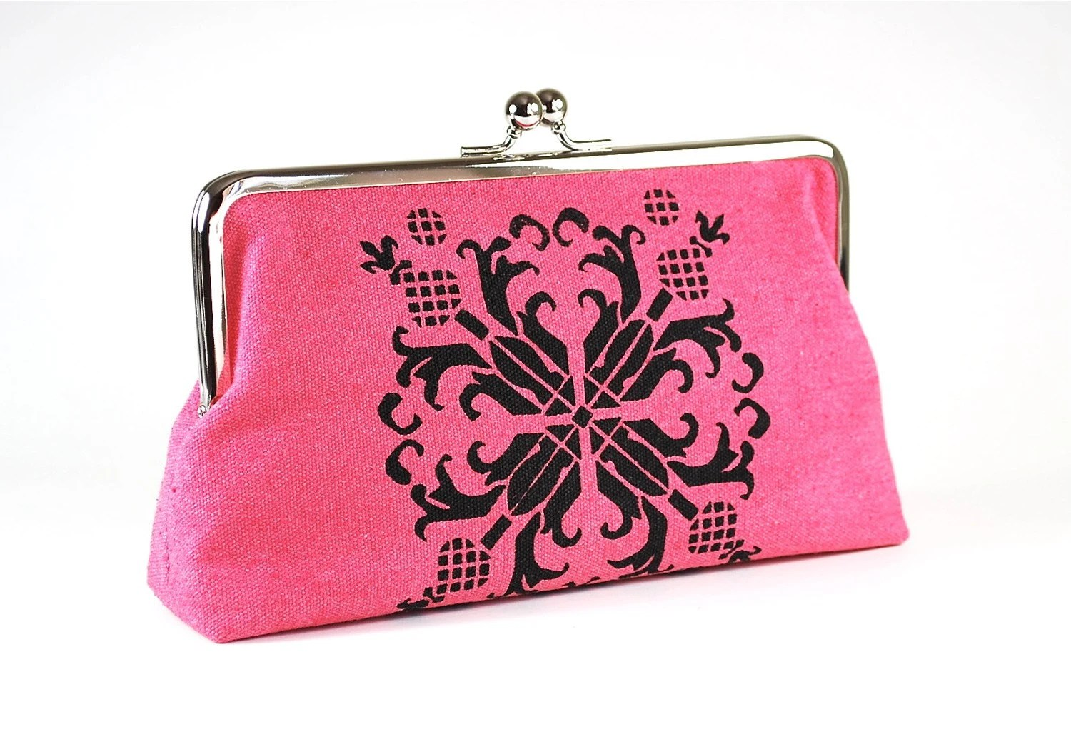 Honeysuckle Pink hemp clutch purse with black floral motif