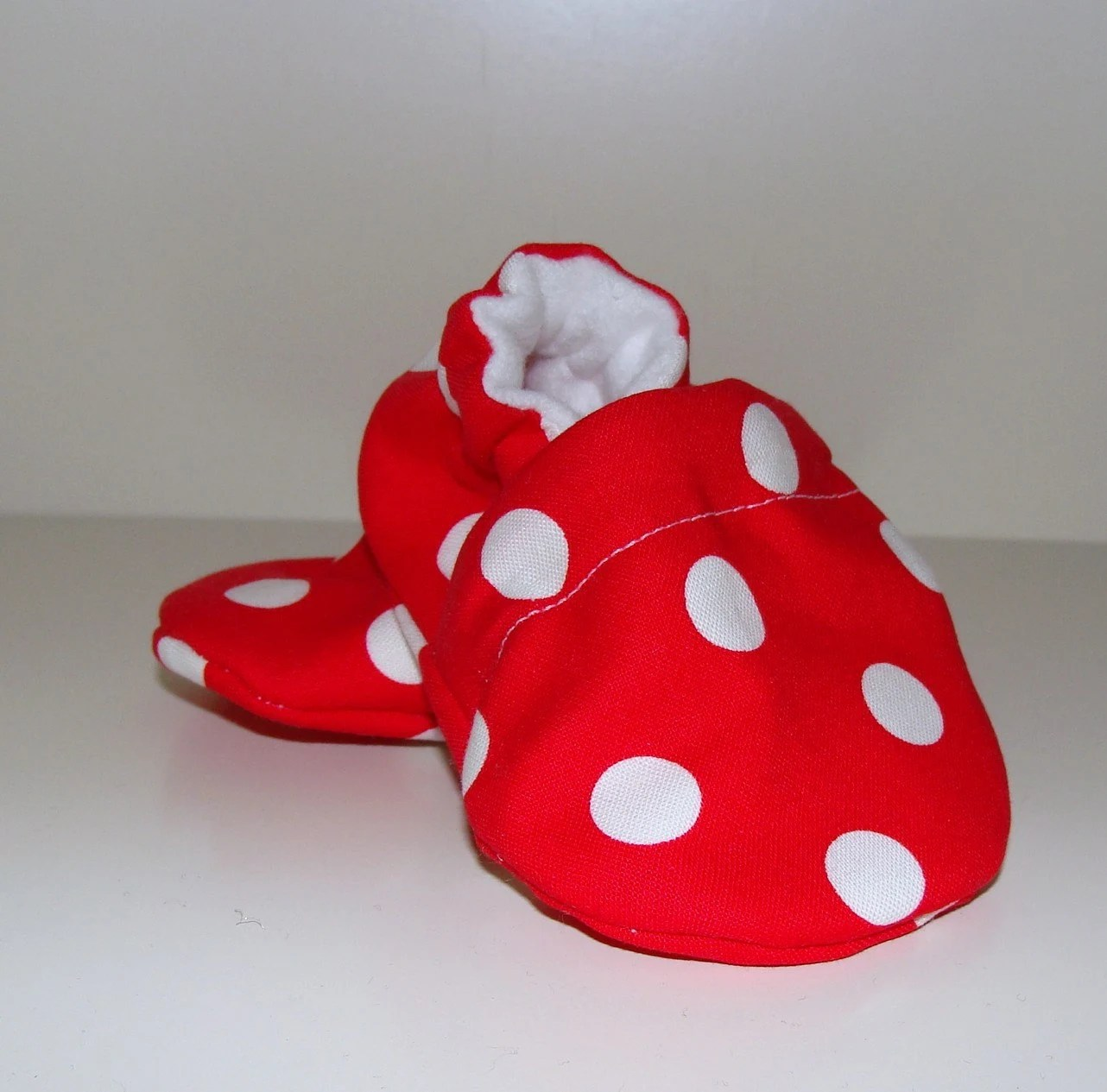 Minnie or Mickey Mouse Shoes in Red Polka Dots for a 0-6 month old.  Free Shipping.