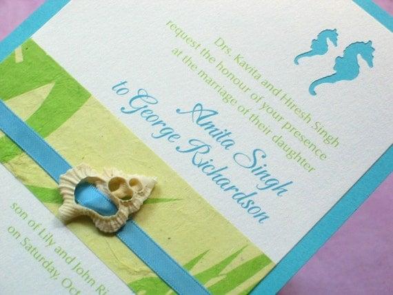 Beach Wedding Invitation - Seashell with Die cut Seahorse Sample