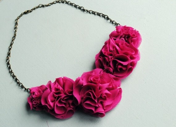 maxwell--honeysuckle ruffle flower statement necklace