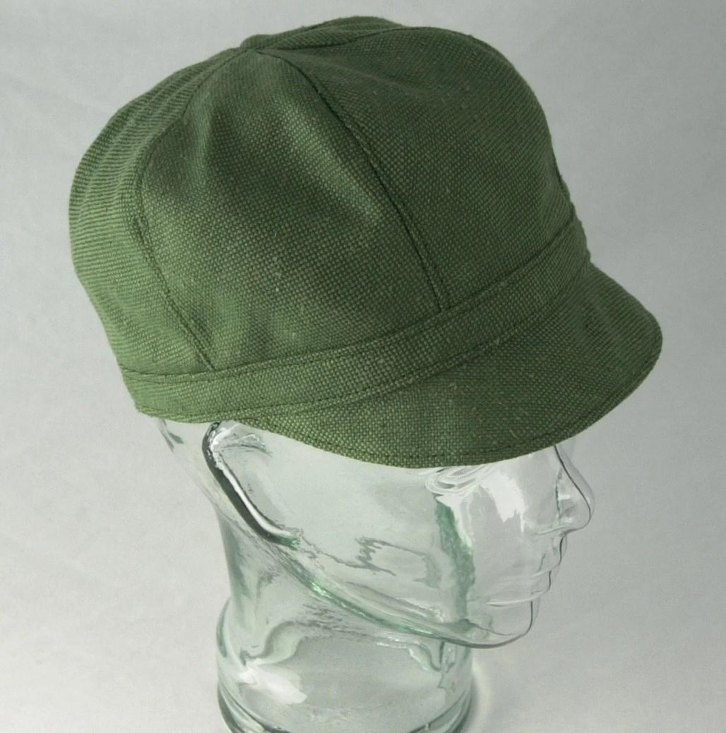 Green Silk Newsboy Hat - Janis - S