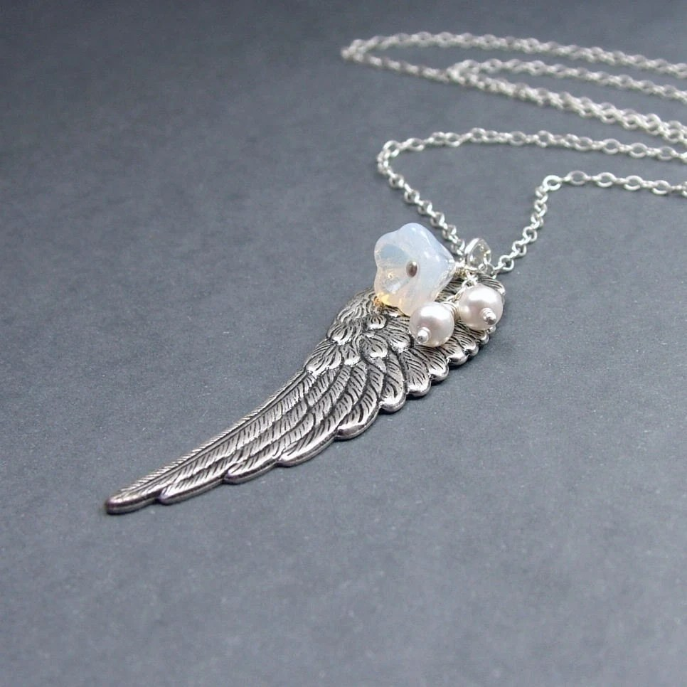 On a Wing Necklace in Antiqued Silver Sterling Chain