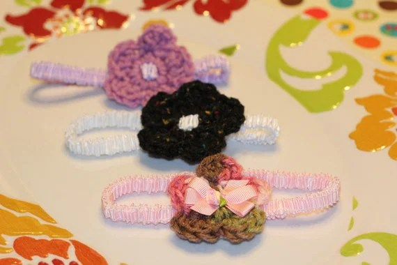 Set of 3 Baby Headbands Pink, Purple, & Black/  White