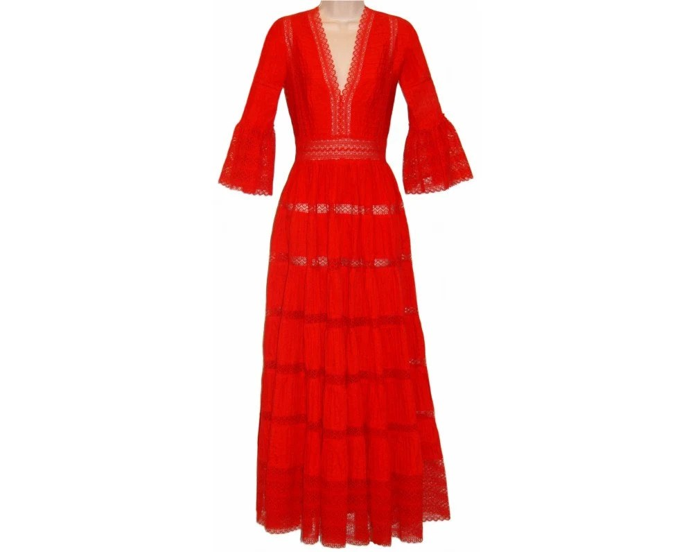Exceptional Red Vintage Mexican Dress, Mint Condition