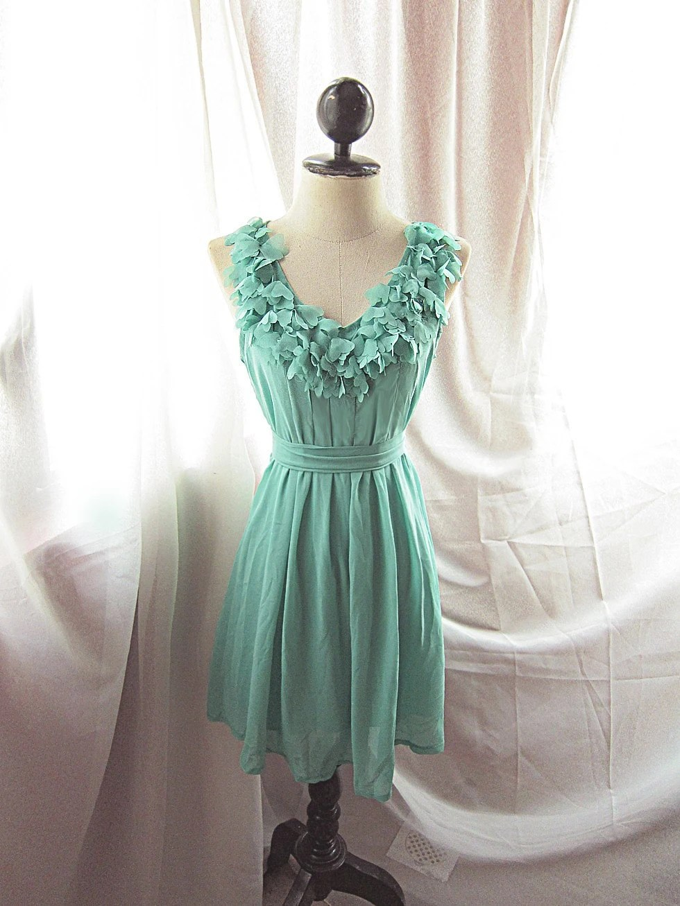 Lovely Soft Minty Green Misty Vine Nature Spring Dreamy Romantic Havisham Mille Feuille Heart Cutouts Flirty Chiffon Flowy Dress