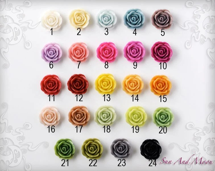 Resin Cabochons - 100pcs - 20mm Vintage Rose Flower Cabochons - Mix and Match Your Choice of Colorful Resin Flowers