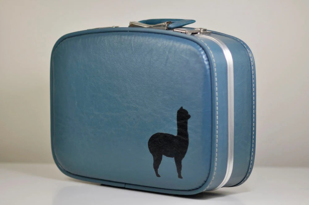 VINTAGE Upcycled Slate Blue Carry On SUITCASE with Hand Painted Baby Alpaca