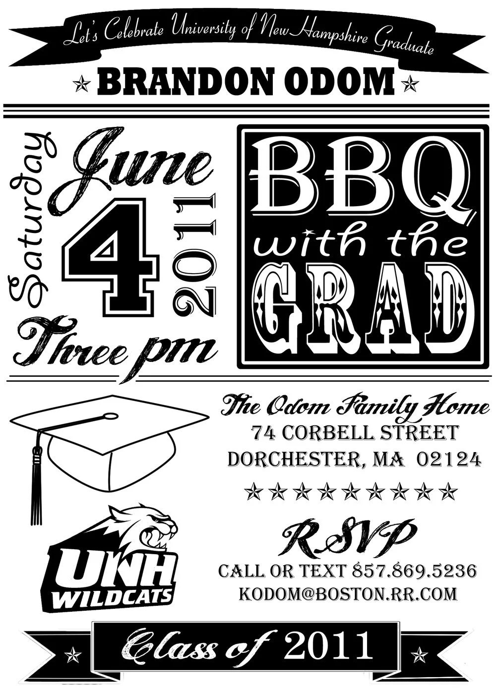 High School or College Graduation Party Invitation- BBQ - Printable