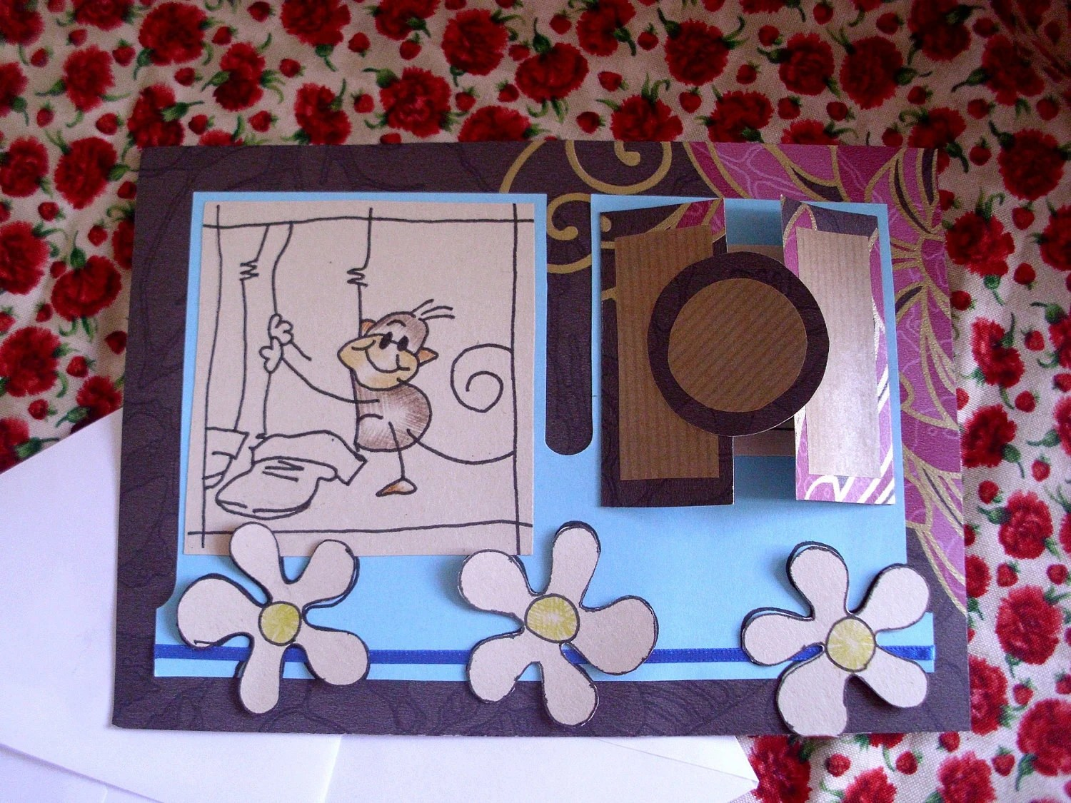 Hang on to You - Little Monkey Fathers Day / Birthday Card (hand drawn and handmade)