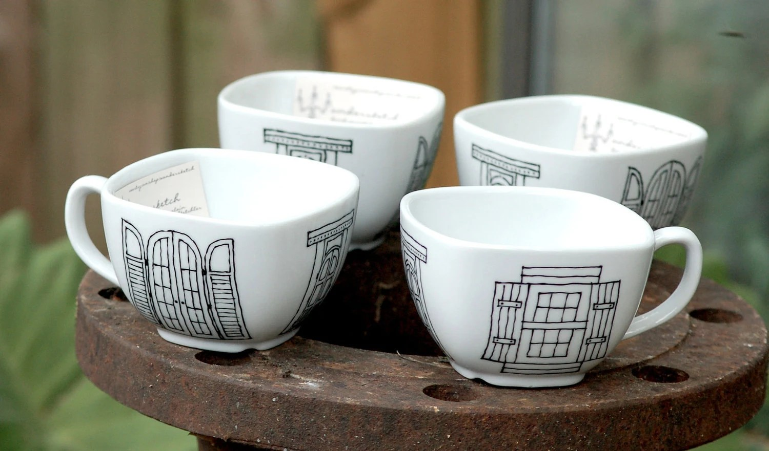 set of four (4)  new orleans window & door mugs - porcelain - black and white hand drawn illustrations