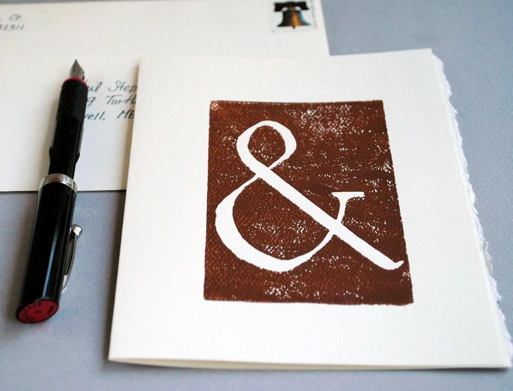 Ampersand Brown Block Print Card Linocut Notecard 5 x 7 inches