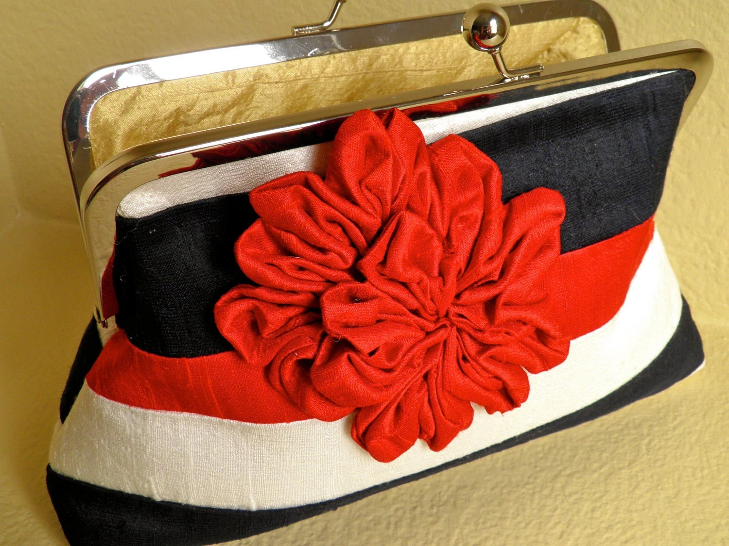 Red, White and Blue Silk Clutch with Flower