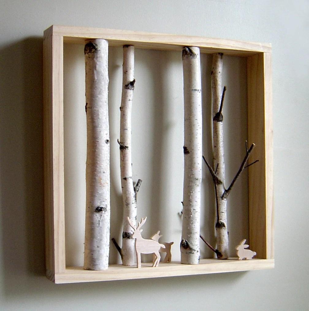 white birch forest & woodland friend -made to order