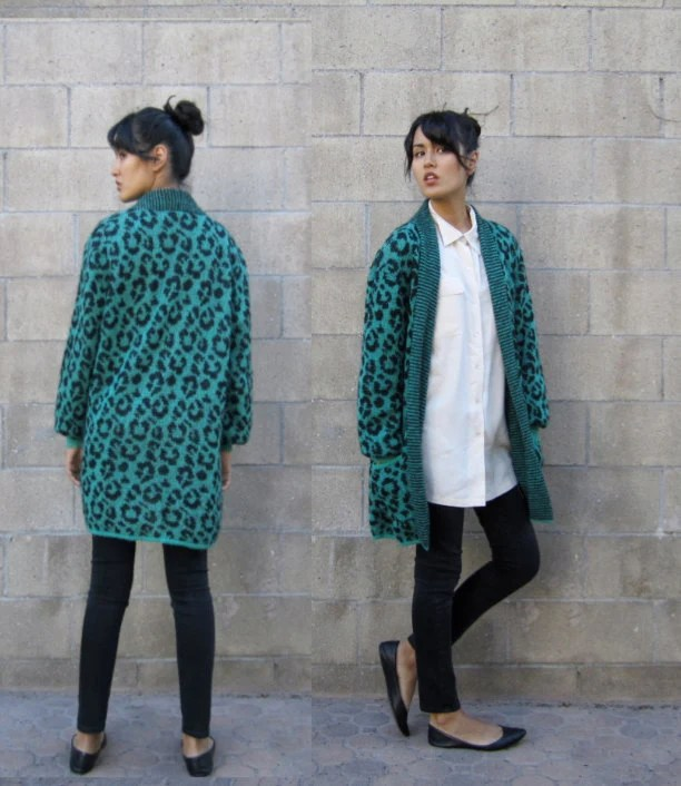 """SALE 15% off with code """"BIGAPPLE"""" 1980s green mohair leopard  print duster light weight knit jacket S-L"""