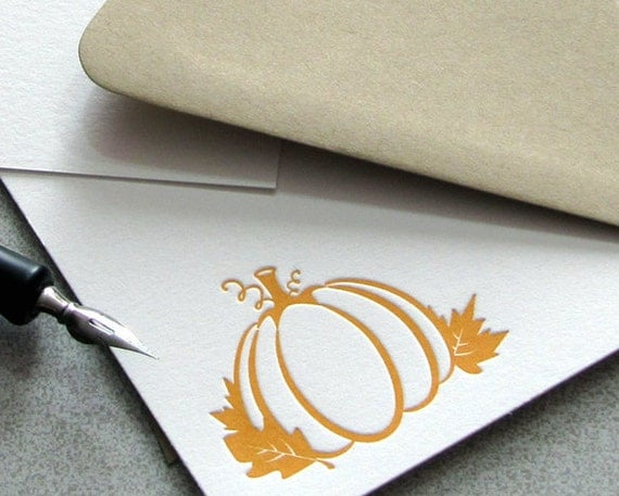 Pumpkin Oak Leaf Autumn Orange Letterpress Note Card Set Maple Leaf Fall 10 pack (NPU01)