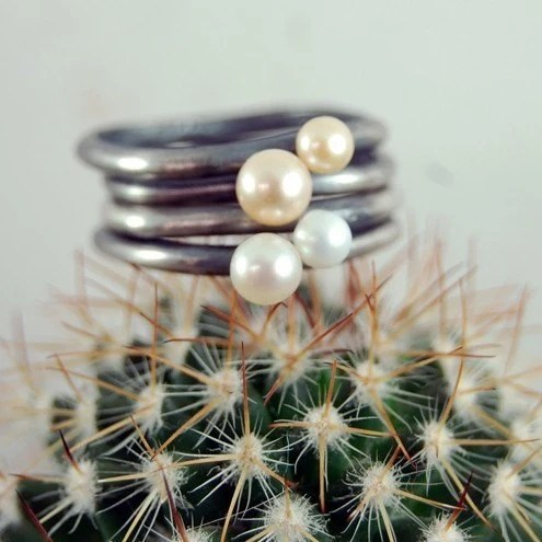 Stackable Silver and Pearl Rings, set of four by Markhed