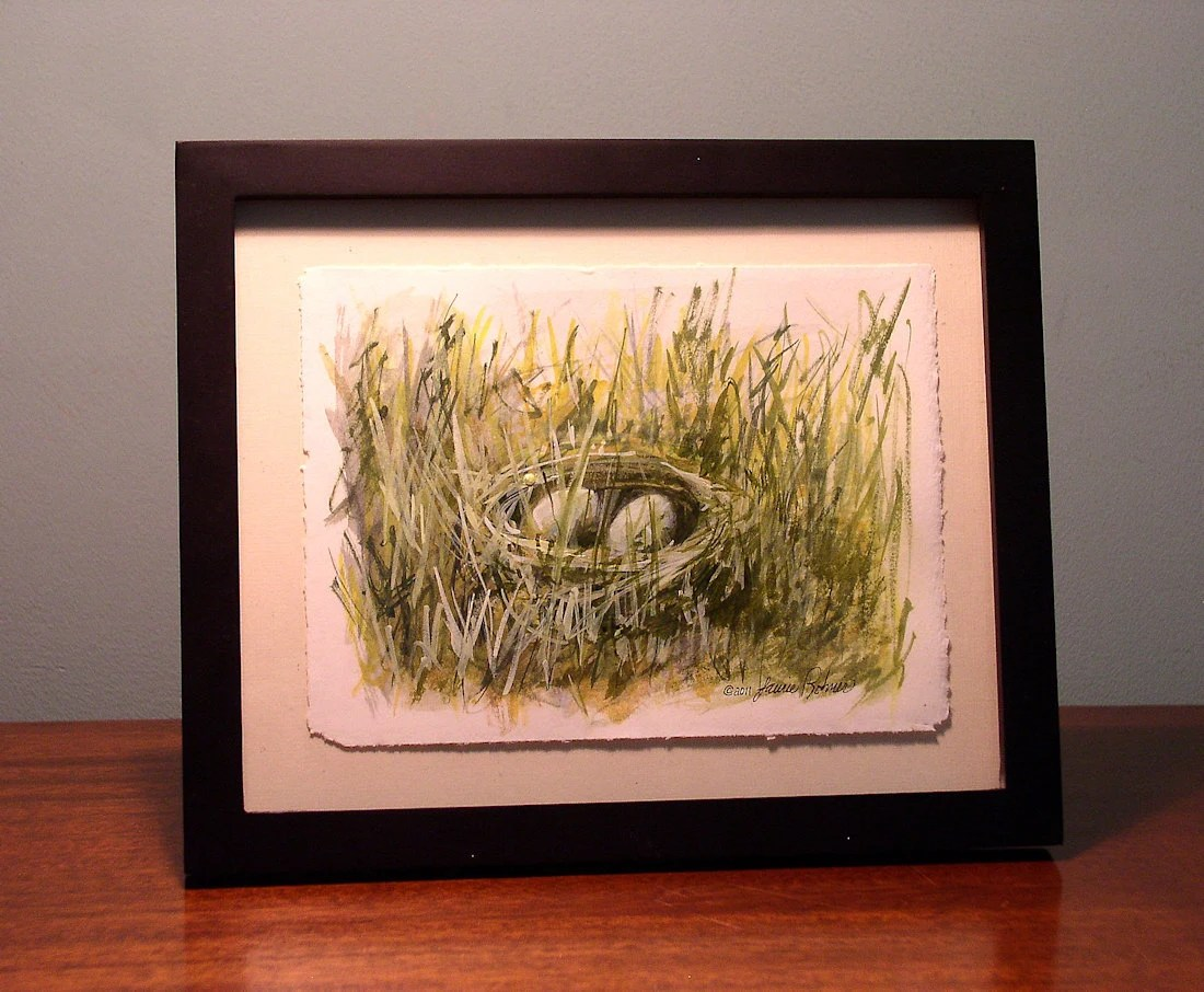 Nest No 1 Original Nature Illustration Painting pencil and watercolor 8 x 6