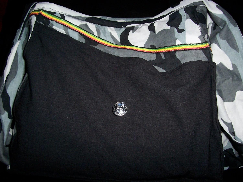 Arctic Camouflage Shoulder Bag With Africa applique and Antique Ethiopian button