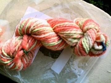 Spring Tulips handspun hand-dyed bulky Navajo-ply wool yarn