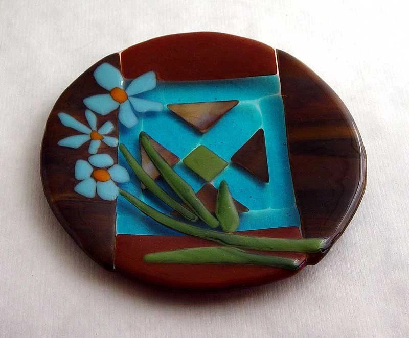 Aqua Cosmos fused glass accent plate