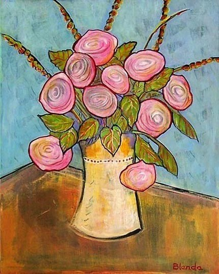 Pink Roses with Vase -  8X10 - Art Print by Blenda