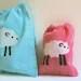 PINK batik SHEEP micro-mini all-purpose drawstring bag knitters spinners