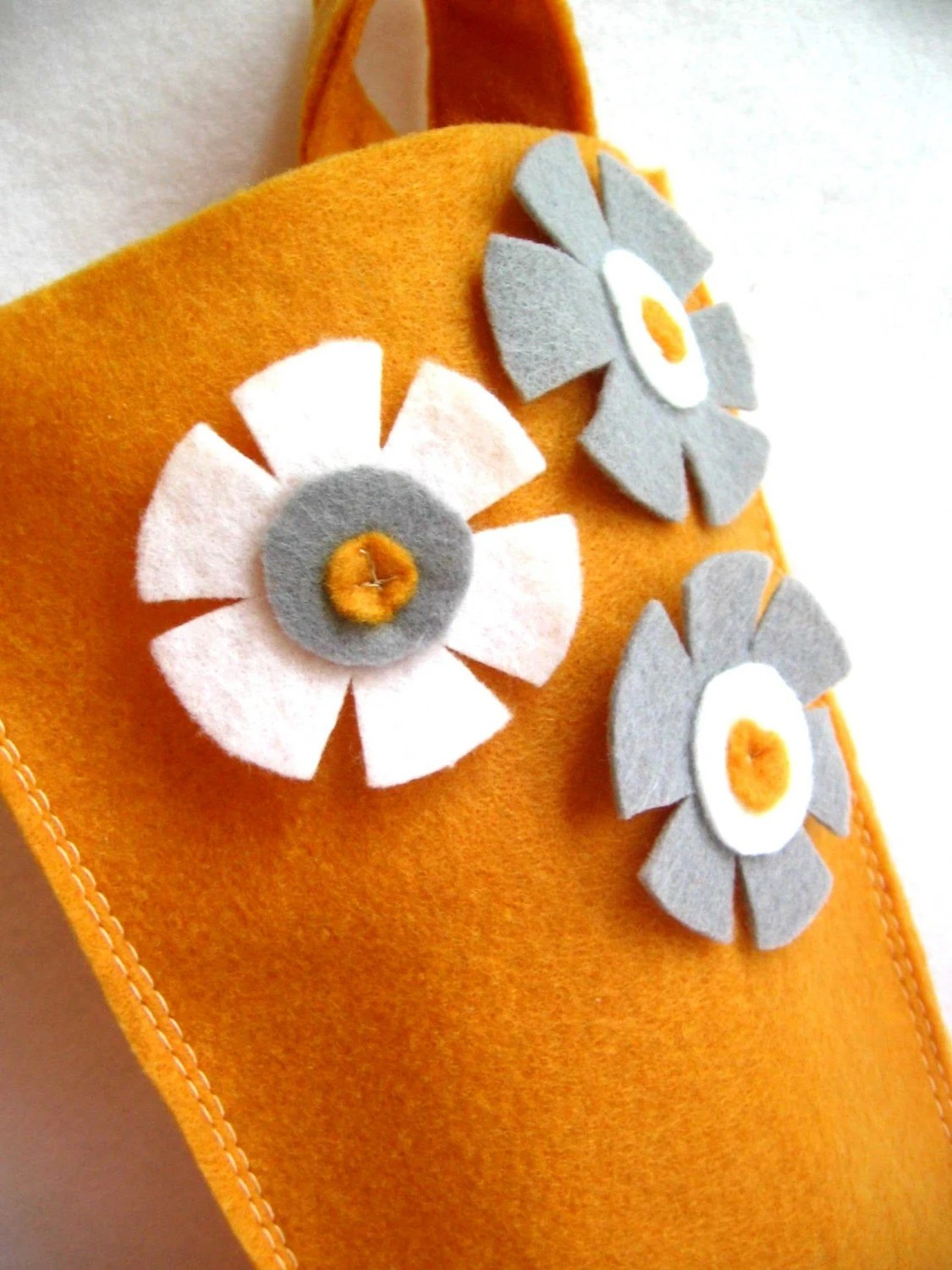 rikrak Christmas stocking. eco felt in golden mustard with grey / gray and white
