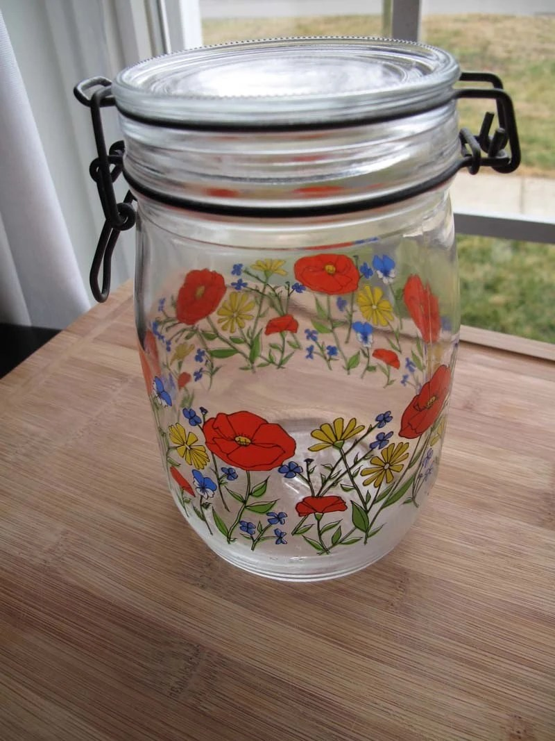 Vintage French Glass Floral Canister