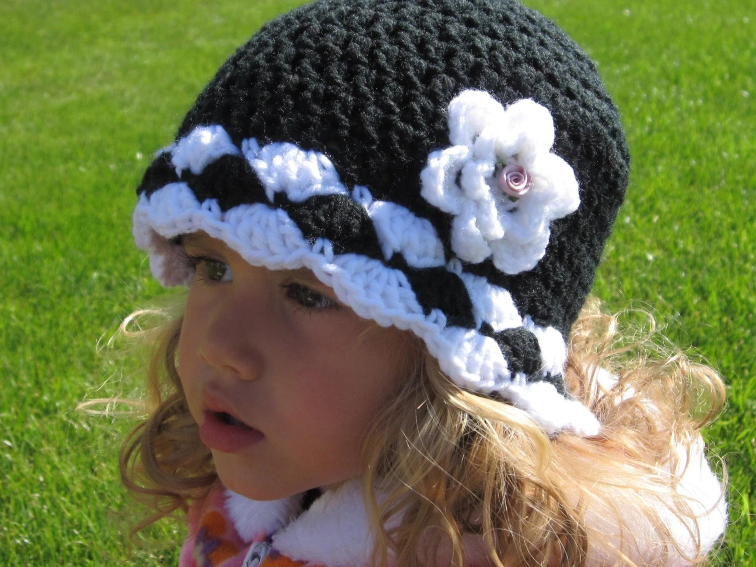 Boutique Crochet Hat with Rose