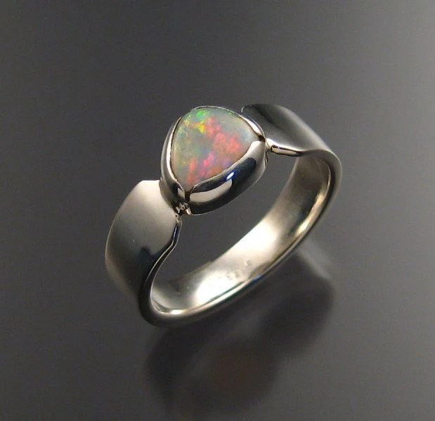 Sterling Silver Opal Ring by StoneFeverJewelry on Etsy