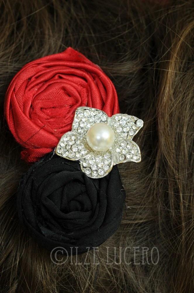 Beautiful rosette clip Red and black ... photo prop ... bidal accessory