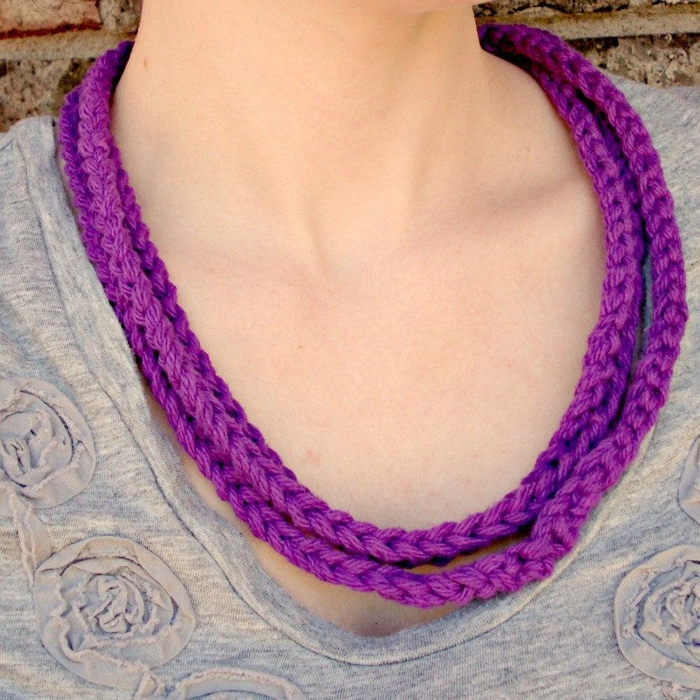 bright crochet fiber necklace
